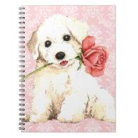 Valentine Rose Bichon Notebook