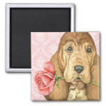 Valentine Rose Bloodhound 2 Inch Square Magnet