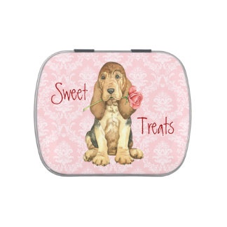 Valentine Rose Bloodhound Jelly Belly Candy Tins