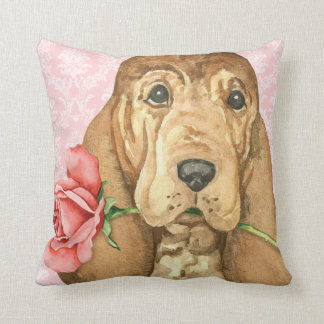 Valentine Rose Bloodhound Throw Pillow