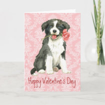 Valentine Rose Border Collie Holiday Card