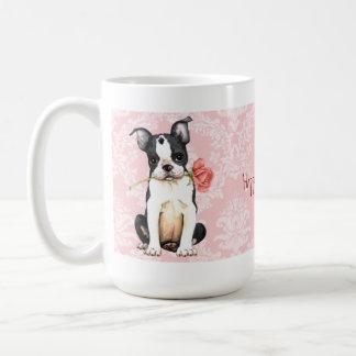 Valentine Rose Boston Terrier Coffee Mug