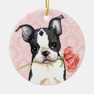 Valentine Rose Boston Terrier Double-Sided Ceramic Round Christmas Ornament