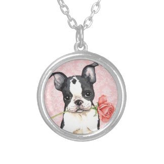Valentine Rose Boston Terrier Silver Plated Necklace