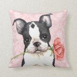Valentine Rose Boston Terrier Throw Pillows