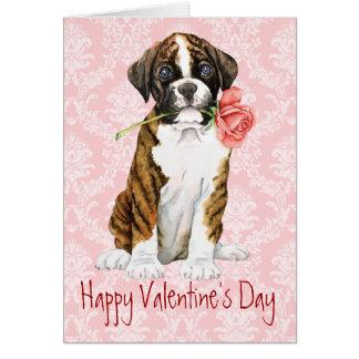 Valentine Rose Boxer Greeting Cards