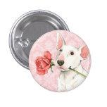 Valentine Rose Bull Terrier 1 Inch Round Button