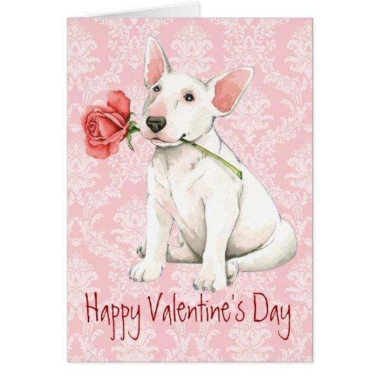 Valentine Rose Bull Terrier Card