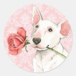 Valentine Rose Bull Terrier Classic Round Sticker