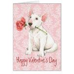 Valentine Rose Bull Terrier Greeting Card