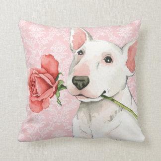 Valentine Rose Bull Terrier Throw Pillow