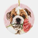 Valentine Rose Bulldog Ceramic Ornament