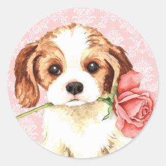 Valentine Rose Cavalier Classic Round Sticker