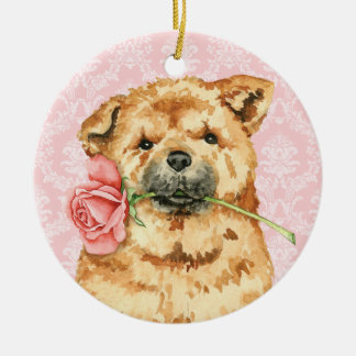 Valentine Rose Chow Ceramic Ornament