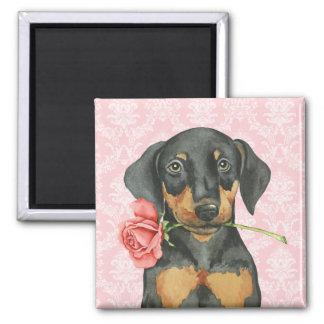 Valentine Rose Doberman 2 Inch Square Magnet