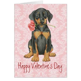 Valentine Rose Doberman Card