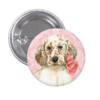 Valentine Rose English Setter Pinback Button