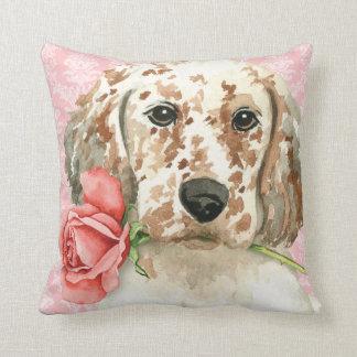 Valentine Rose English Setter Throw Pillow