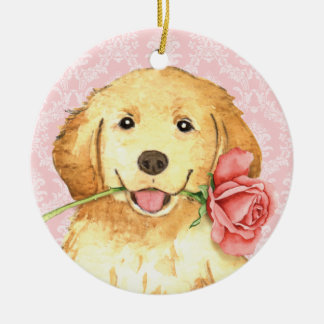 Valentine Rose Golden Double-Sided Ceramic Round Christmas Ornament