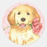 Valentine Rose Golden Retriever Classic Round Sticker