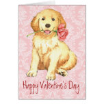Valentine Rose Golden Retriever Greeting Card