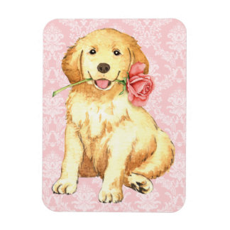 Valentine Rose Golden Retriever Magnet