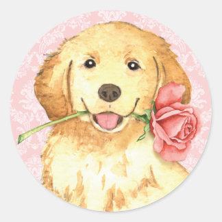 Valentine Rose Golden Retriever Round Stickers