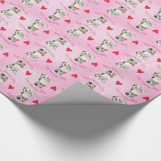 Valentine Rose Great Dane Wrapping Paper