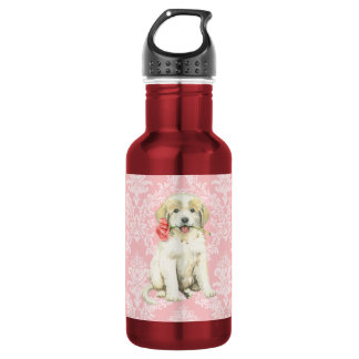 Valentine Rose Great Pyrenees Stainless Steel Water Bottle