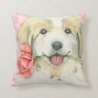Valentine Rose Great Pyrenees Throw Pillow
