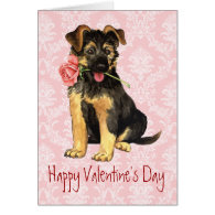 Valentine Rose GSD Greeting Card