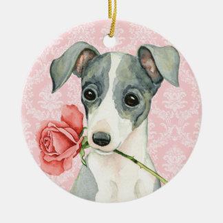 Valentine Rose Italian Greyhound Ceramic Ornament