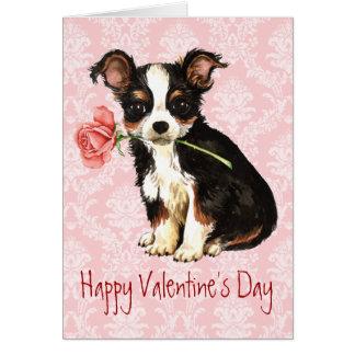 Valentine Rose Long Coat Chihuahua Greeting Card