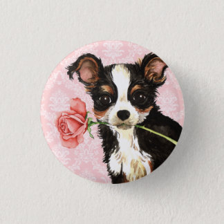 Valentine Rose Long Coat Chihuahua Pinback Button