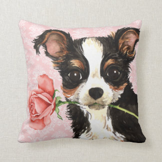 Valentine Rose Long Coat Chihuahua Throw Pillow