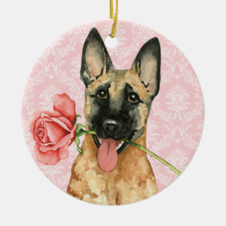 Valentine Rose Malinois Ceramic Ornament