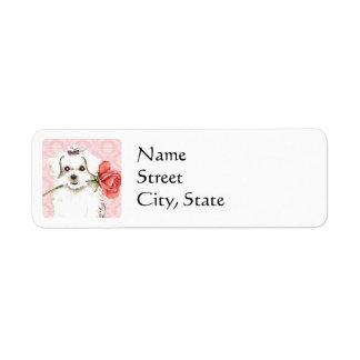 Valentine Rose Maltese Return Address Label