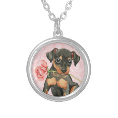 Valentine Rose Min Pin Silver Plated Necklace at Zazzle