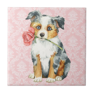 Valentine Rose Mini American Shepherd Ceramic Tile