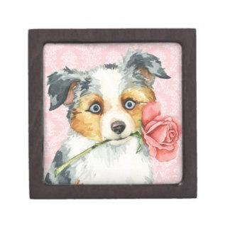 Valentine Rose Mini American Shepherd Jewelry Box
