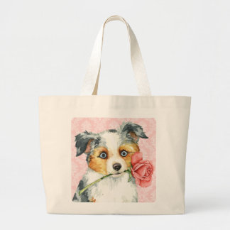 Valentine Rose Mini American Shepherd Large Tote Bag