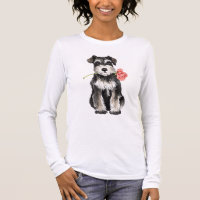 Valentine Rose Mini Schnauzer Long Sleeve T-Shirt