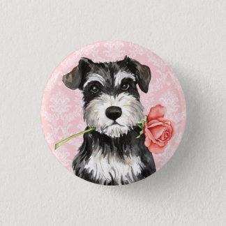 Valentine Rose Mini Schnauzer Pinback Button