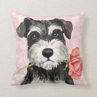 Valentine Rose Mini Schnauzer Throw Pillow