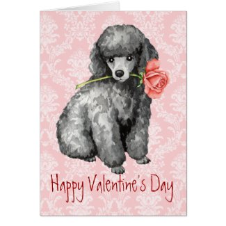 Valentine Rose Miniature Poodle Greeting Card