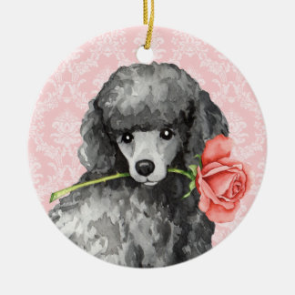 Valentine Rose Miniature Poodle Double-Sided Ceramic Round Christmas Ornament