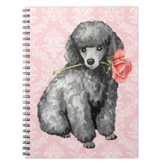 Valentine Rose Miniature Poodle Spiral Notebook