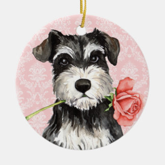 Valentine Rose Miniature Schnauzer Ceramic Ornament