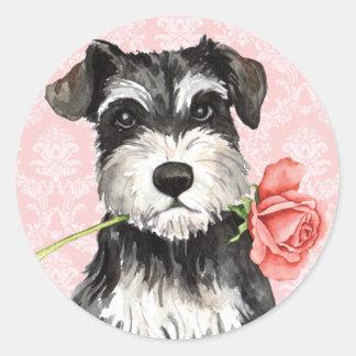 Valentine Rose Miniature Schnauzer Classic Round Sticker