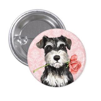 Valentine Rose Miniature Schnauzer Pinback Button